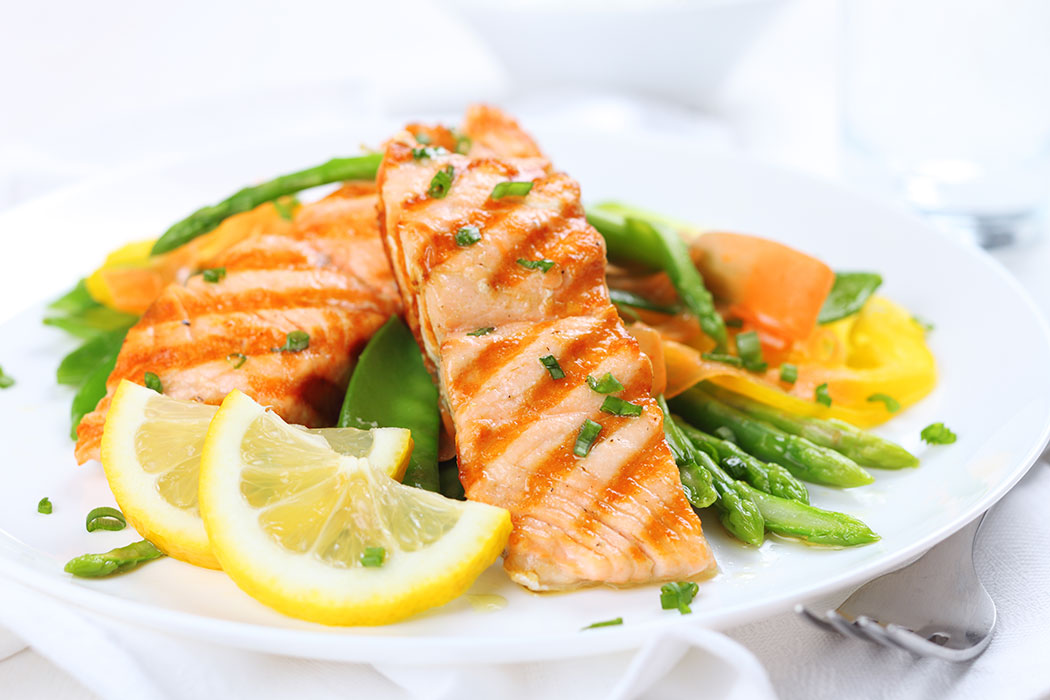 A plate of salmon representing seafood exported from Atlantic Canada